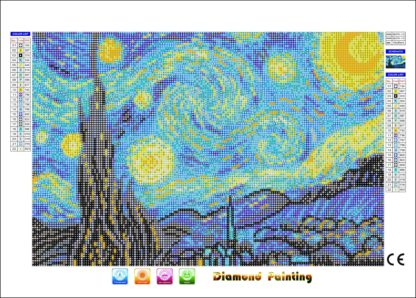 Starry Night diamond painting canvas sample