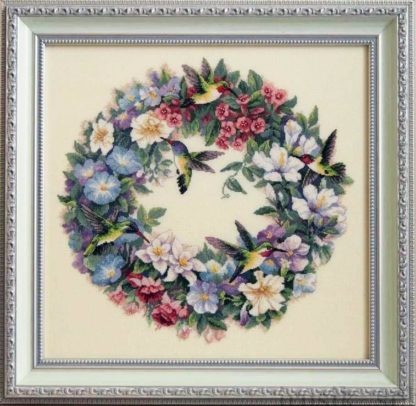 Preview completed counted cross stitch kit from Dimensions gold collection - Hummingbird Wreath